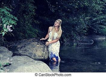 beau, girl, rivière
