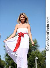 beau, girl, robe blanche, jeune