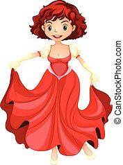 beau, girl, robe, rouges