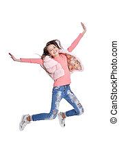 beau, girl, sauter, jean