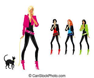 beau, girl, silhouette