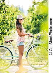 beau, girl, vélo