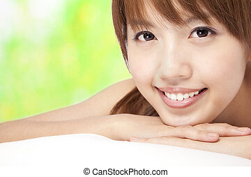 beau, girl, vert, asiatique, fond