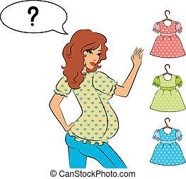 beau, girls., vecteur, pregnant