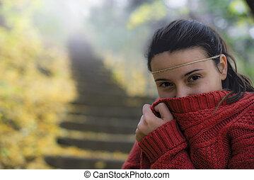 beau, glacial, automne, femme, parc