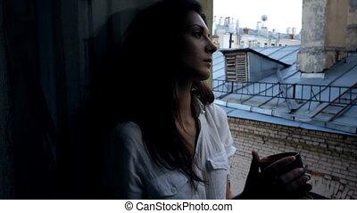 beau, glisseur, fenêtre, femme