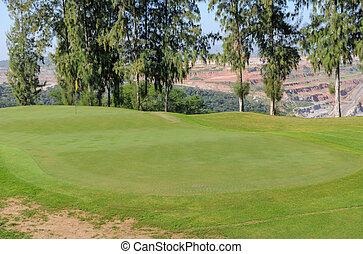 beau, golf, arbres, pin, tribunal, paysage