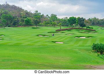 beau, golfcourse, tribunal, arbres, vert, golf, herbe, paysage