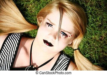 beau, goth, vieux, quatorze, année, girl