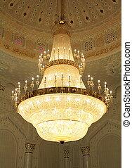 beau, grand, lustre, mosquée