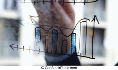 beau, gratte-ciel, gros plan, affaires femme, graphiques, coup, jeune, verre, arrière-plan., lifestyle:, static., math, nettoyage