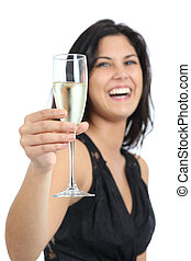 beau, grillage, femme, rire, champagne