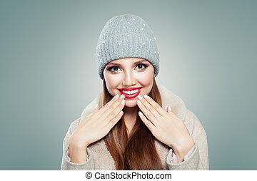 beau, gris, femme, fond, rire., jolie fille, chapeau, blanc