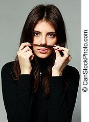 beau, gris, femme, jeune, fond, confection, moustache