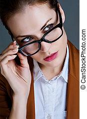 beau, gros plan, affaires femme, glasses., portrait