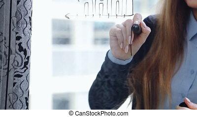 beau, gros plan, affaires femme, graphiques, coup, jeune, verre, arrière-plan., lifestyle:, static., dessin, math, gratte-ciel