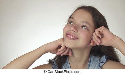 beau, gros plan, rêves, métrage, adolescent, sourire, vidéo, rire, fond, blanc, heureux, girl, stockage