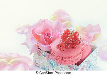 beau, groseilles, dessert, contre, macaronis, roses., fond, guimauves, fleurs, rouges, closeup.
