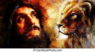 beau, guerrier, à, lion, pensée, sur, sien, suivant, aventure, résumé, watercolour-, style, arrière-plan.