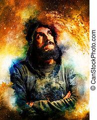beau, guerrier, dans, cosmique, espace, pensée, sur, sien, suivant, aventure, résumé, watercolour-, style, arrière-plan.