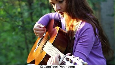 beau, guitare, girl, airs, roux