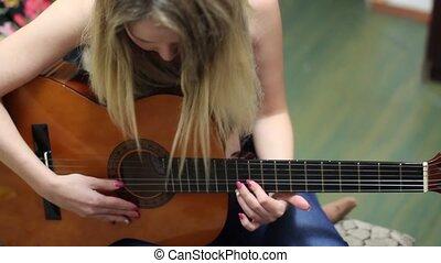 beau, guitare, girl, ajuste