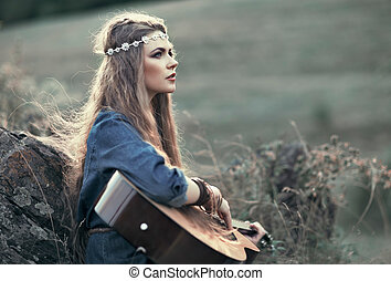 beau, guitare, girl, hippie