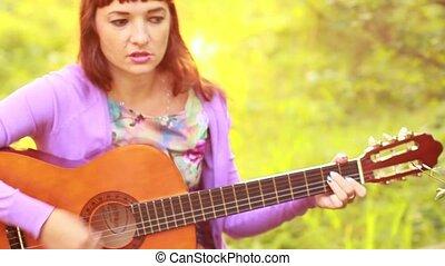 beau, guitare, girl, jouer, roux