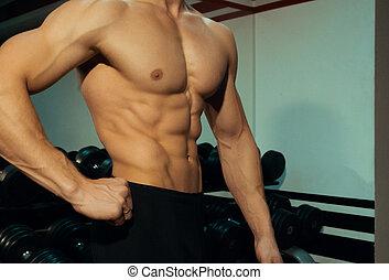 beau, gym., culturiste, poser