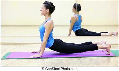 beau, gymnase, yoga, 3, girl