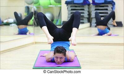 beau, gymnase, yoga, girl, 6