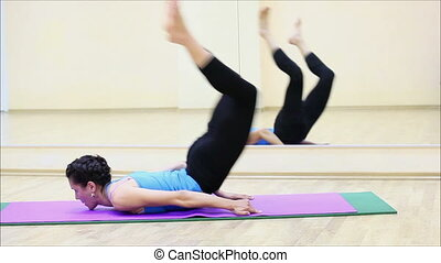 beau, gymnase, yoga, girl