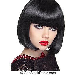 beau, haircut., femme, hairstyle., court, noir, hair., fring