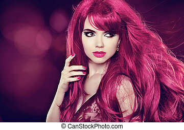 beau, hairstyle., beauté, sain, long, girl., fond, hair., modèle, vacances, woman.