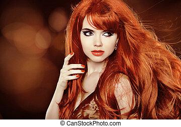 beau, hairstyle., beauté, sain, long, girl., fond, hair., woman., vacances, modèle, rouges