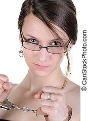 beau, handcuffs., femme