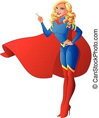 beau, haut., femme, superhero, illustration., pointage, vecteur, doigt, sexy