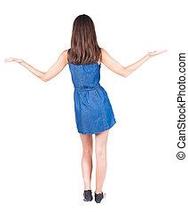 beau, haut., femme, tient, main postérieure, sandales, vue