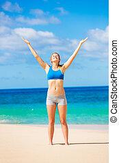 beau, hawai, femme, plage, délassant