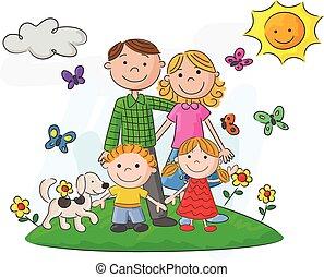 beau, heureux, contre, famille, dessin animé