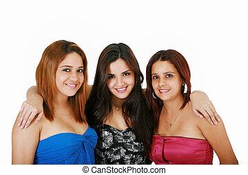 beau, heureux, filles, trois amis