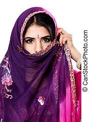 beau, hindou, femme, indien