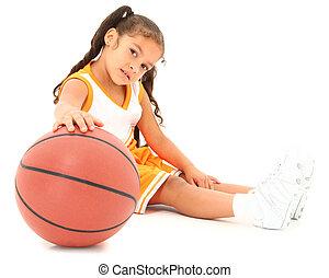 beau, hispanique, girl, basket-ball