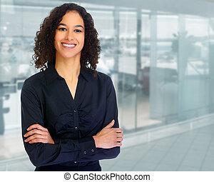 beau, hispanique, woman., business