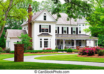 beau, historique, traditionnel, maison dans, marietta,...