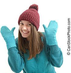 beau, hiver, coloré, fond, girl, blanc, vêtements