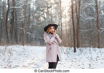 beau, hiver, mode, ensoleillé, jeune fille, jour, vêtements