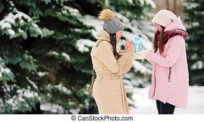 beau, hiver, neige, filles, jeune, deux, dehors, jour