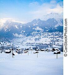 beau, hiver, paysage