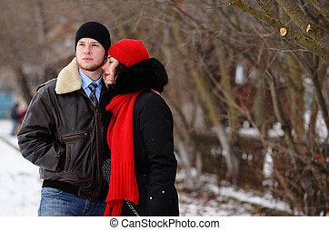 beau, hiver, promenade, couple, personne agee, jour